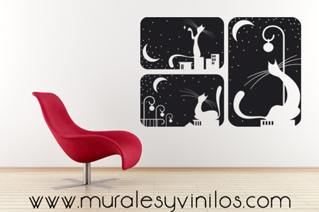 Vinilo ventana gatos y lunas vinilos decorativos - Vinilos decorativos gatos ...