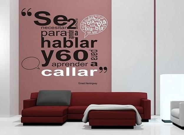 Vinilo decorativo hemingway vinilos decorativos - Frases para paredes habitaciones ...