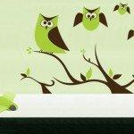 Ojitos en la pared, vinilo con búhos para decorar la habitación