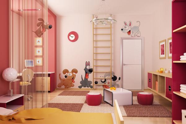 Vinilo decorativo infantil con perritos a todo color for Vinilos decorativos de ninos
