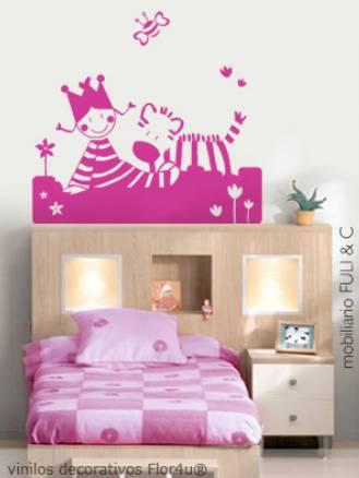 Vinilo decorativo cabecera de cama infantil vinilos - Camas infantiles de nina ...