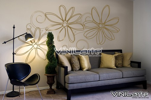 Vinilo decorativo flores grandes vinilos decorativos for Decoracion paredes en vinilo