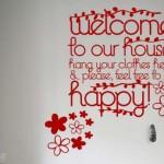 Hermoso Vinilo Decorativo con colgantes de bienvenida al hogar