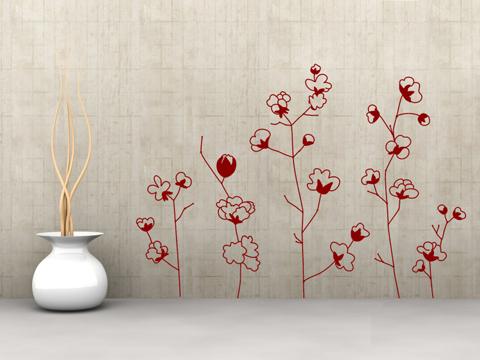 Vinilo decorativo flor de algodon vinilos decorativos for Vinilos decorativos para entradas
