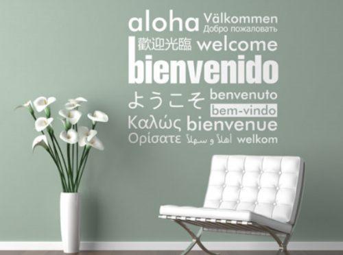 Vinilo decorativo mensaje de bienvenida vinilos decorativos for Vinilos decorativos para entradas