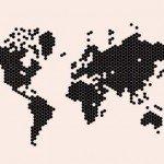 El mundo en hexágonos en la pared