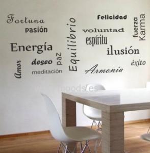 vinilos decorativos palabras felices
