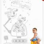 La pala mecánica y sus personajes en el cuarto del niño