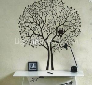 Vinilo decorativo arbol con lechuza vinilos decorativos - Vinilos de arboles ...