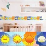 Cenefa con los astros para la habitación infantil