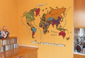 Vinilo decorativo mapamundi estilo vintage vinilos - Vinilos decorativos mapamundi ...