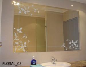 Vinilo decorativo floral para el espejo del ba o vinilos - Como decorar un espejo de bano ...