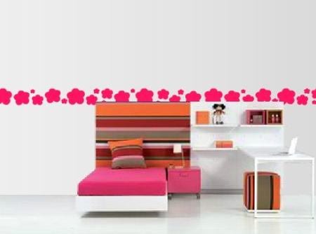 Vinilo decorativo cenefa floral vinilos decorativos for Muebles de oficina jovalu