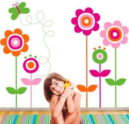 Vinilo decorativo mariposa y flores vinilos decorativos for Mural de flores y mariposas