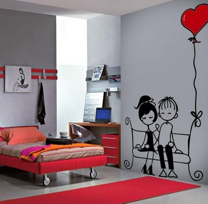 Vinilo decorativo pareja amor vinilos decorativos for Vinilos de pared juveniles