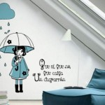 vinilo decorativo niña con paraguas