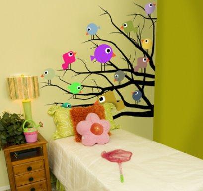 Vinilo decorativo pajaros en rama vinilos decorativos for Murales y vinilos infantiles
