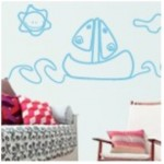 vinilo decorativo barco de papel