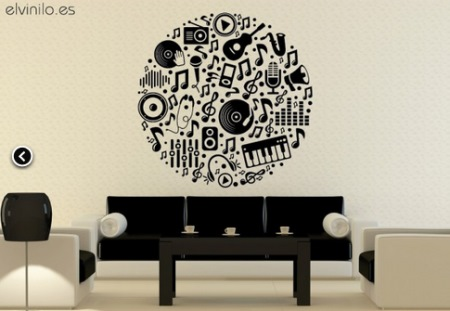 Vinilo decorativo circulo musical vinilos decorativos for Vinilos decorativos pared musicales
