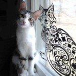 Hermoso gatito abstracto para decorar tus cristales