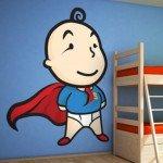 Un superbebé para las paredes del dormitorio infantil