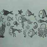 Simpáticos peces para decorar la mampara