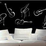 Instrumentos de cuerda en la pared y de a trazos