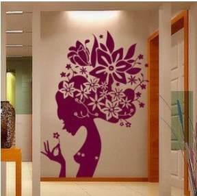 Vinilo decorativo mujer floral vinilos decorativos for Pegatinas habitacion nina