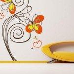 Hermoso vinilo decorativo con flores descontracturadas