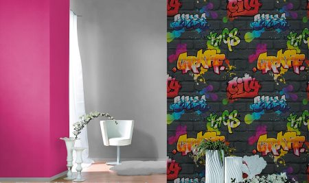 Papel pintado graffiti vinilos decorativos for Vinilos para piezas