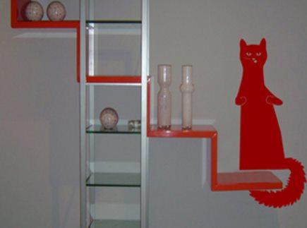 Vinilo decorativo para decorar estantes con un gatito - Estanterias para gatos ...