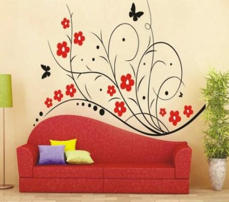 Vinilo decorativo flores rojas con mariposa vinilos - Disenos de vinilos ...