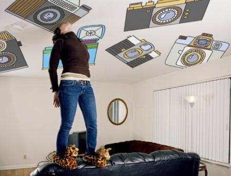 vinilo decorativo para decorar el techo con camaras de