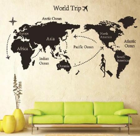 Vinilo decorativo vuelta al mundo vinilos decorativos for Vinilo mapa del mundo