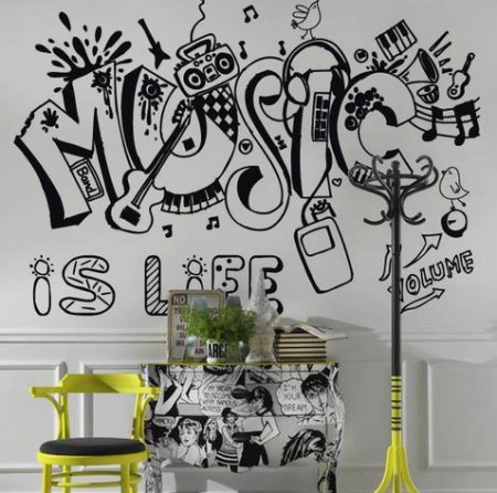 A puro rock del mejor vinilos decorativos for Vinilos decorativos sobre musica