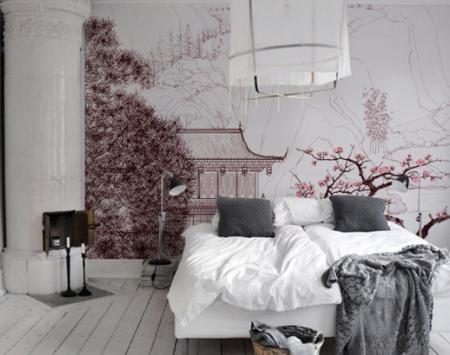 Hermoso fotomural japon s imponente vinilos decorativos for Casa decoracion willow