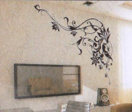 Bonito esquinero floral para cualquier sala vinilos - Como colocar vinilo en pared ...