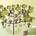 vinilo decorativo arbol con monos