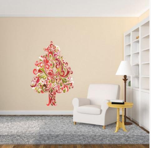 Hermoso abeto navide o para tu sala vinilos decorativos for Vinilos pared navidad