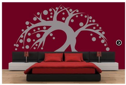 Vinilo decorativo arbol con circulos cabecero de cama for Vinilos decorativos para habitaciones matrimoniales
