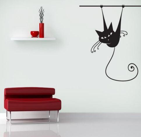 Gatito desafiante para decorar tu sala de estar vinilos for Vinilos de pared juveniles