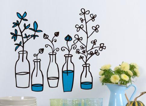 Vinilo decorativo frascos con flores vinilos decorativos for Donde se venden los vinilos decorativos