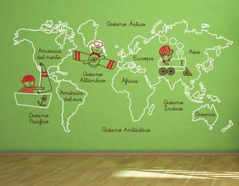 Vinilo decorativo mapa de oceanos y continentes vinilos for Vinilo mapa del mundo