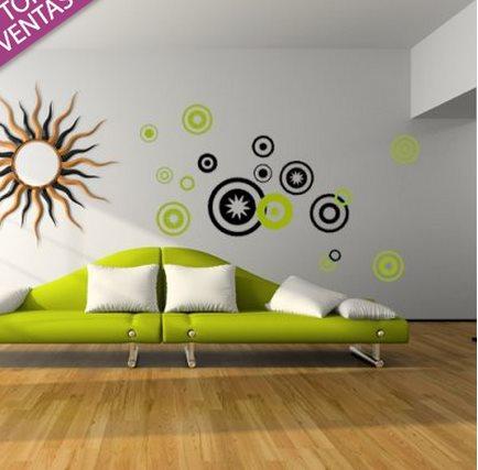 Vinilo decorativo retro con circulos vinilos decorativos for Stickers decorativos de pared