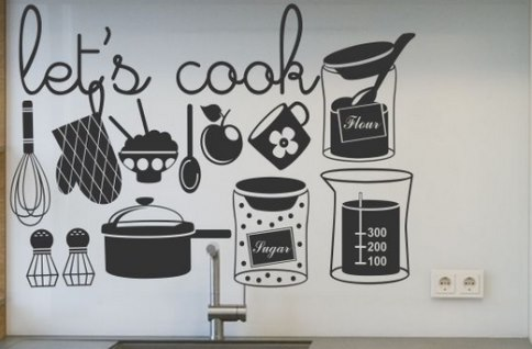 Vinilo decorativo utensilios de cocina vinilos decorativos - Vinilo para puertas de cocina ...
