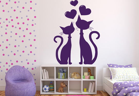 Vinilo decorativo pareja de gatos vinilos decorativos for Vinilo pared habitacion