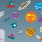 Vinilo con planetas para peques de varias edades