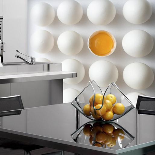 Un mural a puro huevo en la cocina vinilos decorativos for Fotomurales para cocinas