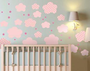 Vinilos nubes tonos rosas para bebés