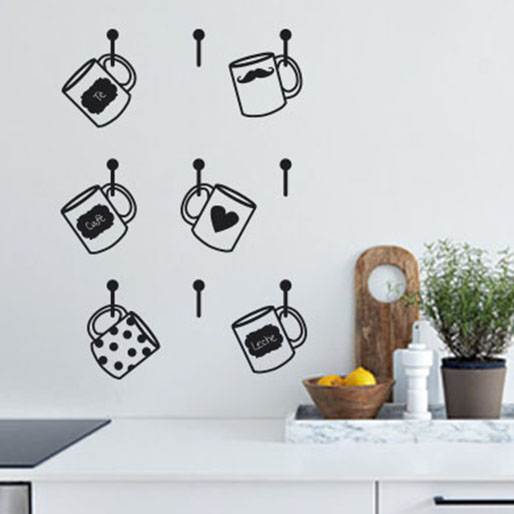 Tazas en vinilo divertido adorno para la cocina vinilos for Vinilos decorativos pared cocina